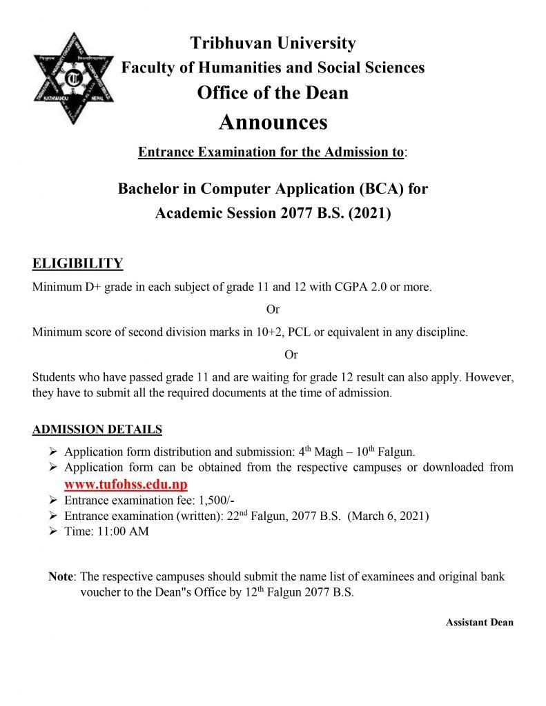 BCA Admission Open
